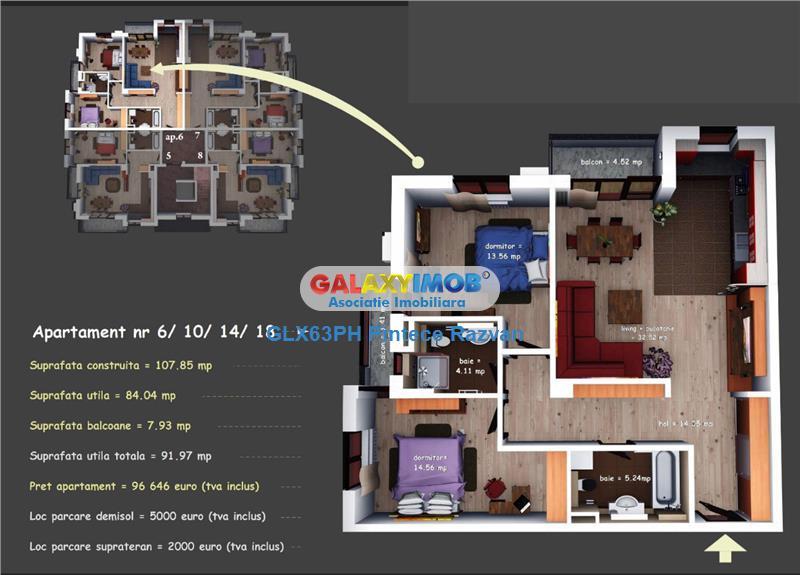 Apartamente 3 camere, de lux, bloc nou, Cartier Albert, Ploiesti