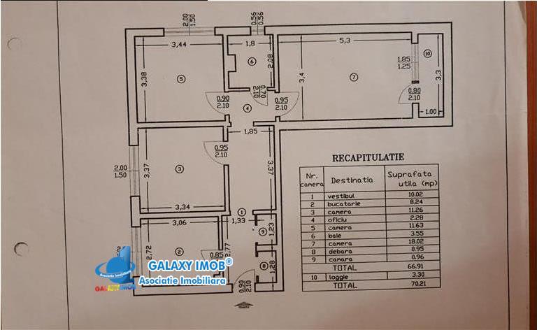 Apartament 3 camere strada SInaia Doamna Ghica