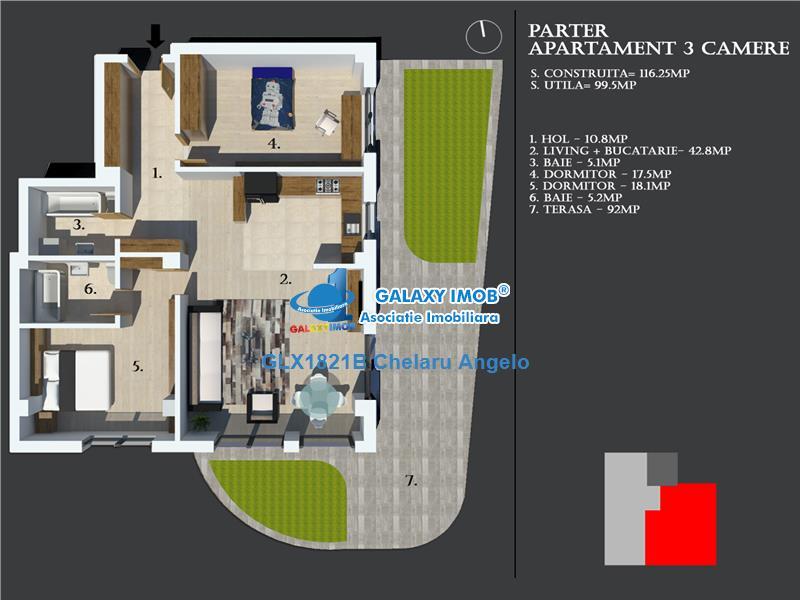 Baneasa,Sisesti,apartament 3 cam,116mp construiti,terasa 100 mp,an 201