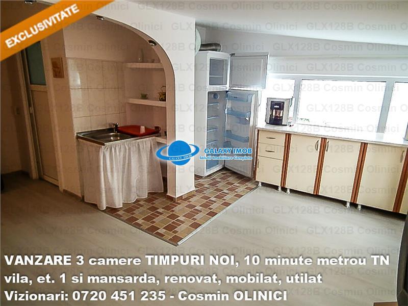 VANZARE 3 camere in vila TIMPURI NOI, etaj 1 si mansarda, renovat