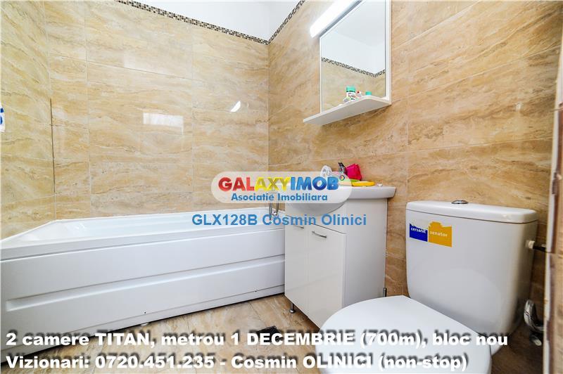 INCHIRIERE 2 camere TITAN, metrou 1 DECEMBRIE (700m), bloc nou