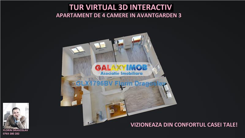 Tur virtual 3D interactiv - 4 camere Avantgarden 3