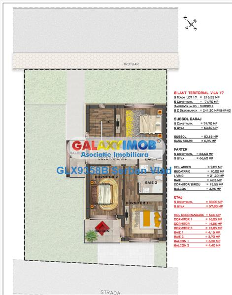 Vand vila tip duplex G+S +P+1E ,5 cam/3 bai Cartier privat 39 Locuinte