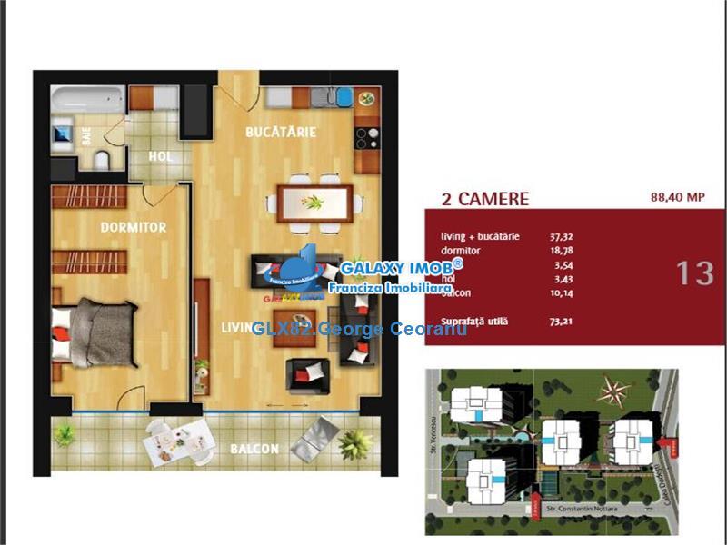 Vanzare/Inchiriere apartament 2 camere Unirii  IN CITY RESIDENCE
