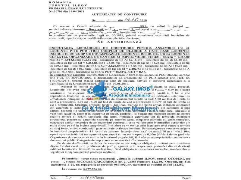 Vanzare Teren 7415 mp Autorizatie Constructie 32 Case