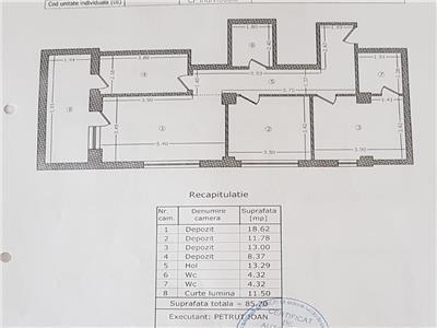Demisol 3 camere 2 bai 85 mp + curte 80 mp pod constanta str linistei
