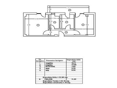 Apartament 2 camere 65 mpu decomandat et 1 Bucurestii Noi