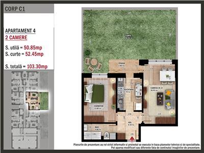 Apartament 2 camere cu gradina -59700euro