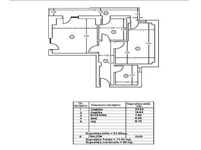 Apartament 2 camere decomandat 72 mpu et 1 bucurestii noi