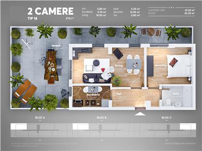Apartament 2 camere terasa mare Nicolae Teclu - cash