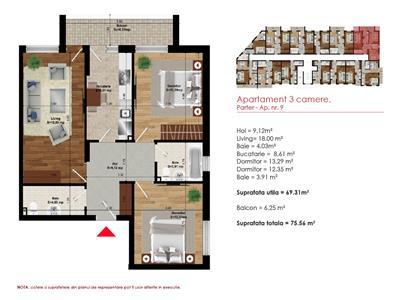 Apartament 3 camere 76mp, Metrou