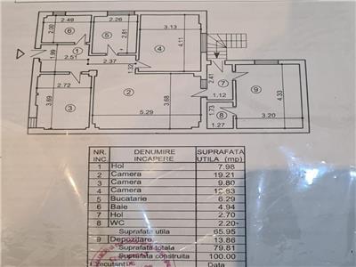 Apartament 4 camere + curte 80 mp Biserica Bazilescu