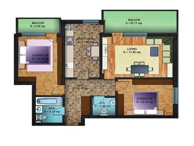 Apartament cu 3 camere de vanzare in bloc nou - Chiajna