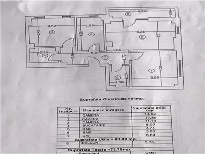 Apartament decomandat 3 camere 2 bai Bucurestii Noi