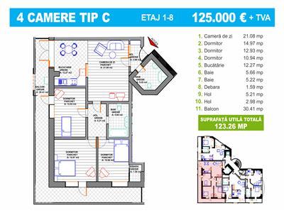 Apartament perfect - 4 camere - 124mp - al obregia - bloc nou