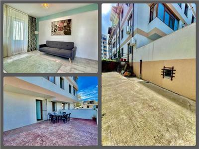 2 camere+curte 45mp+terasa 38mp, bloc NOU metrou Mihai Bravu, parcare
