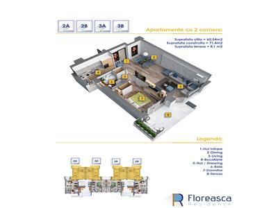 Apartament cu 2 camere,imobil nou, zona floreasca