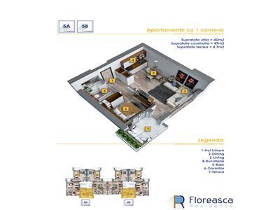 Apartament tip studio cu o suprafata utila de 40 mp plus un balcon
