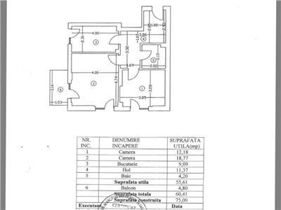 Apartament 2 cam 60 mp utili et 1 decomandat
