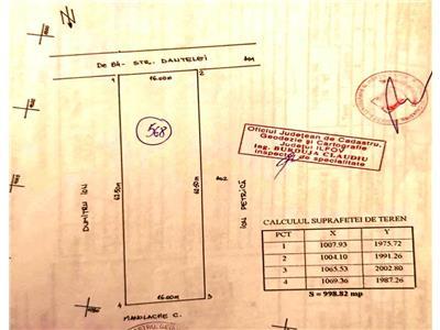 Teren intravilan 1000 mp,deschidere de 16 m, Strada Dantelei.Bragadiru