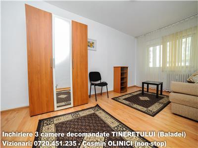 Inchiriere apartament 3 camere decomandate TINERETULUI (Baladei)