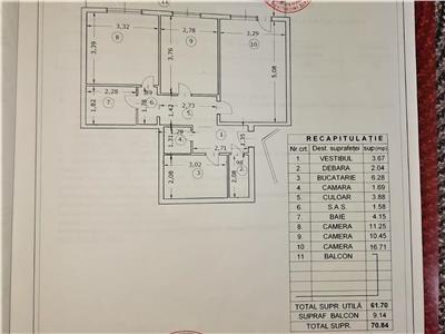 Vanzare apartament 3 camere 71 mp   berceni - uioara   bloc reabilitat