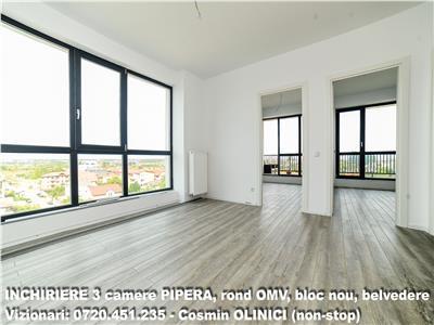 Inchiriere apartament 3 camere PIPERA bloc nou zona OMV