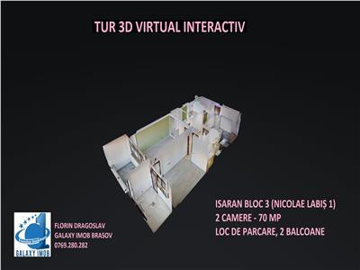 Tur virtual 3d interactiv - apartament de 2 camere isaran zona coresi