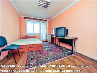 VANZARE 3 camere decomandate MAIOR CORAVU - 8 minute metrou