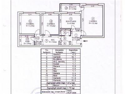 Vanzare apartament 3 camere,decomandat zona Diham